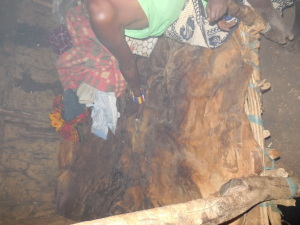 Masai Bed made of Dried Cowskin
