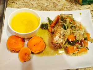 A meeting of the yellows Steamed fish with sweet potatoes and pumpkin soup